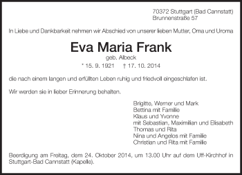 Zur Gedenkseite von Eva Maria