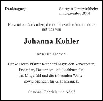 Zur Gedenkseite von Johanna