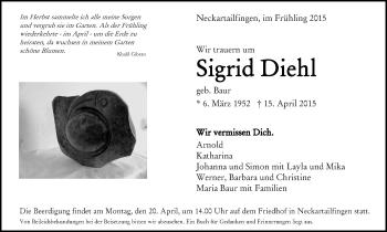 Zur Gedenkseite von Sigrid