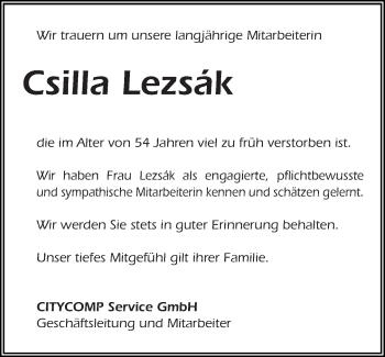Zur Gedenkseite von Csilla